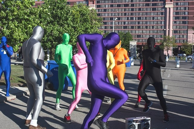 Morphsuit brigade at Anime North.