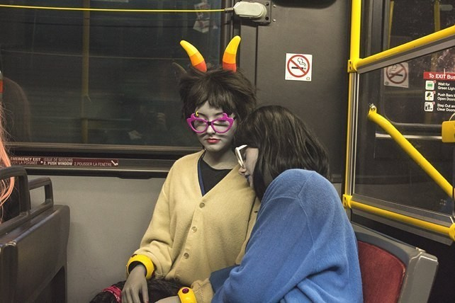 Anime North attendees take the bus home at 3 AM.