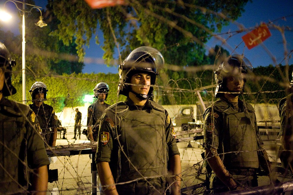 The Egyptian military protect the presidential palace from potential attacks on June 30. As of July 2, the military issued President Morsi a 48-hour ultimatum to solve the crisis or they will step in.