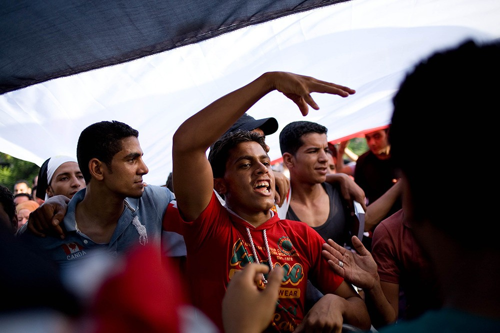 July 1: On the second day of protests outside the presidential palace, the mood was festive, as the people seemed to be happy that the military has given President Morsi an ultimatum.