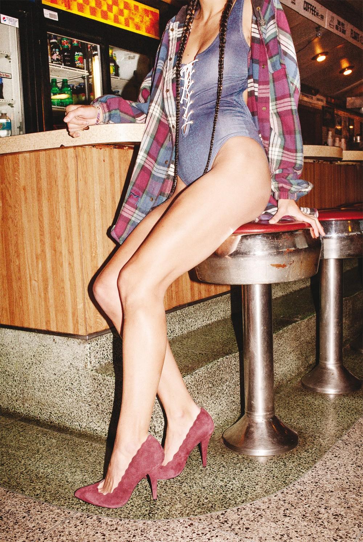 Vintage flannel, Wildfox swimsuit, Betsey Johnson shoes, vintage bracelet