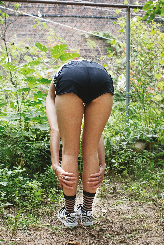 Adidas shorts and shoes, Cheap Monday bra, Stance socks, Wanderluster bracelets, Bing Bang rings