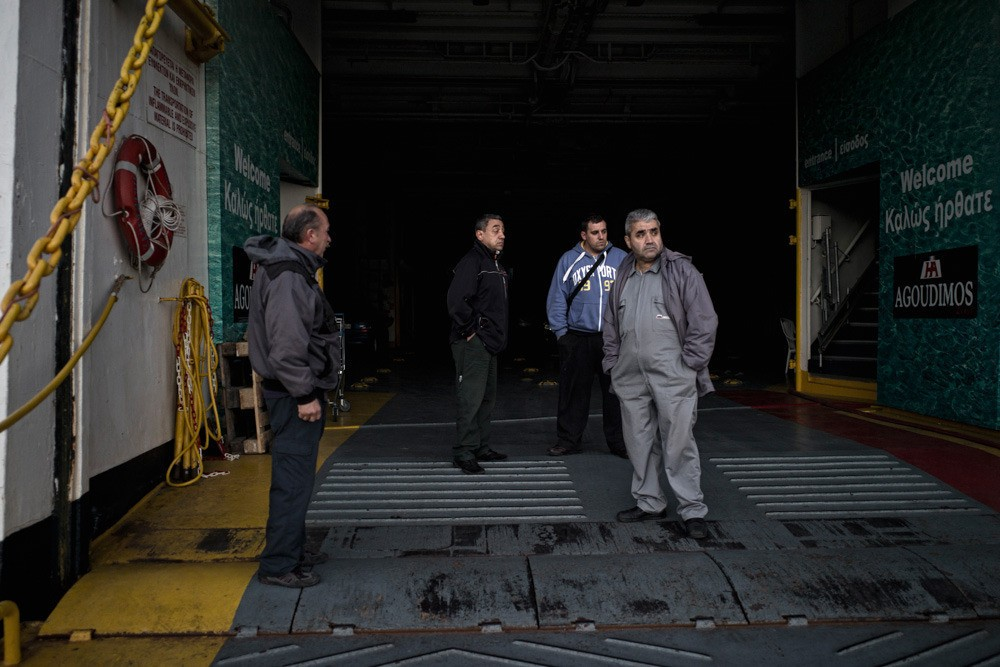 "Fifty six seamen, the crew of the ferry-boat ""Penelope A,"" harbored in the port of Raphina and have been withholding their labor in demand of their wages. Those with families living outside the Attica region cannot afford the fare to go home."