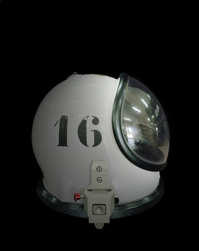 Helmet of a SCAPE suit used by the propulsion crew during spacecraft-filling operations (CSG—Europe's Spaceport, Kourou, French Guiana)