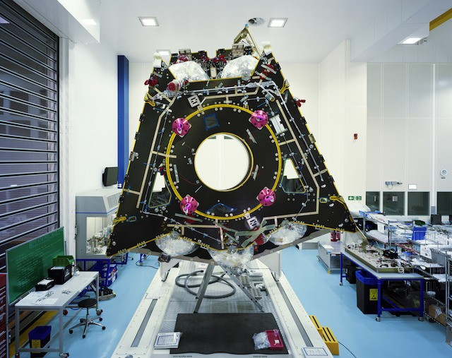 The Mercury Transfer Module (MTM)—BepiColombo's propulsion vehicle—during its integration phase (Airbus Defense and Space, AIT Stevenage, UK)